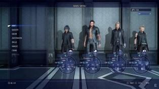 Final Fantasy XV menu