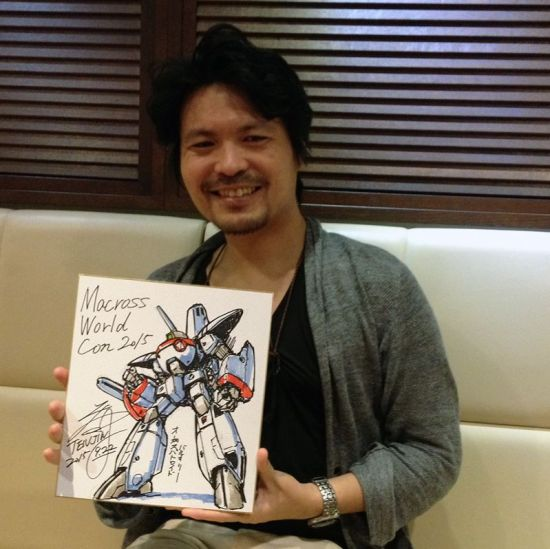 Hidetaka Tenjin with an original sketch of the infamous Orguss Valkyrie