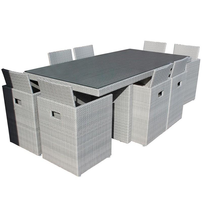 salon de jardin encastrable dcb garden 8 places avec plateau en verre gris