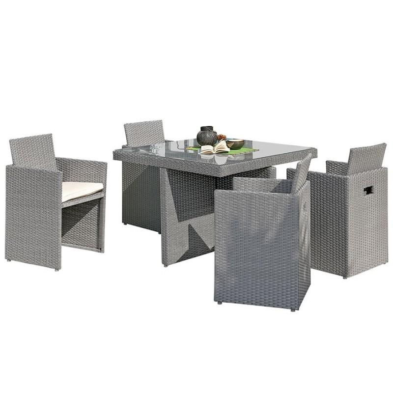 salon de jardin encastrable dcb garden 4 places avec plateau en verre gris