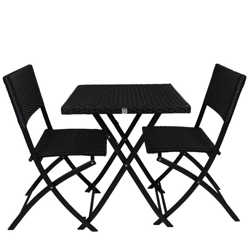 ensemble de jardin dcb garden alice 1 gueridon 2 chaises noir