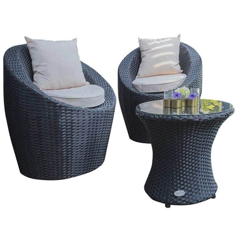 salon de jardin dcb garden totem fidji 2 places en resine tressee noir