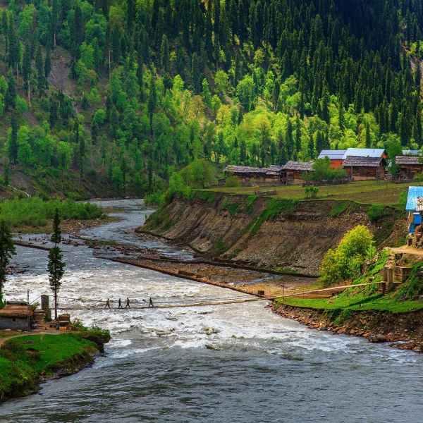 A suspension bridge in Taobat Neelum Valley