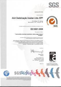 Certificado ISO 2016-2018 Dedetização Insetan