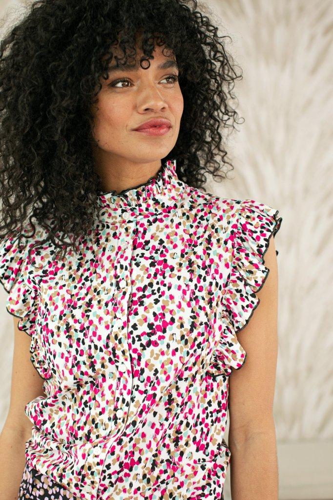 Michelle Arti Dot Blouse - Studio Anneloes - Roze