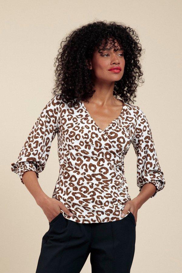 Joy Leopard Wrap Blouse – Studio Anneloes – Off White Indigo Nieuw Blouse