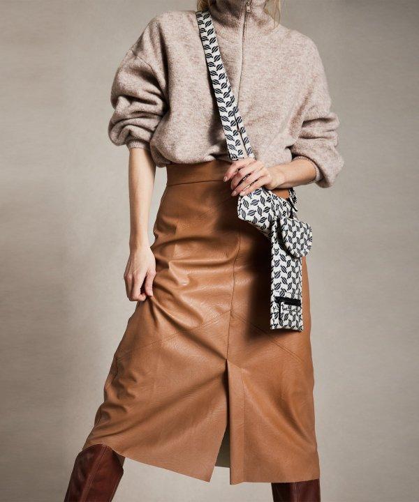 Vegan Leather Skirt - 10DAYS - Cognac