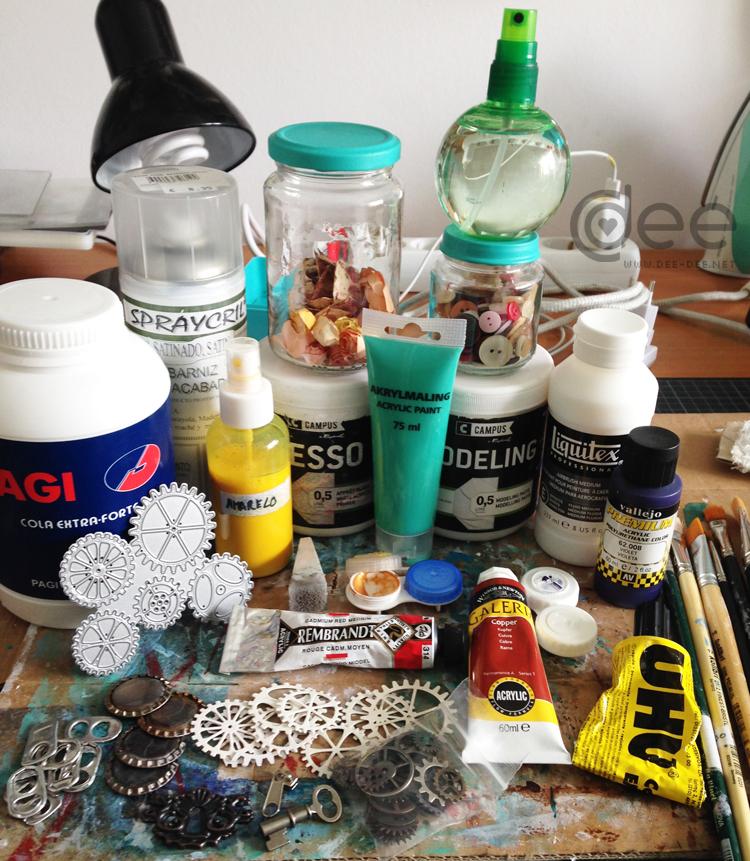 alguns materiais usados em mixed media