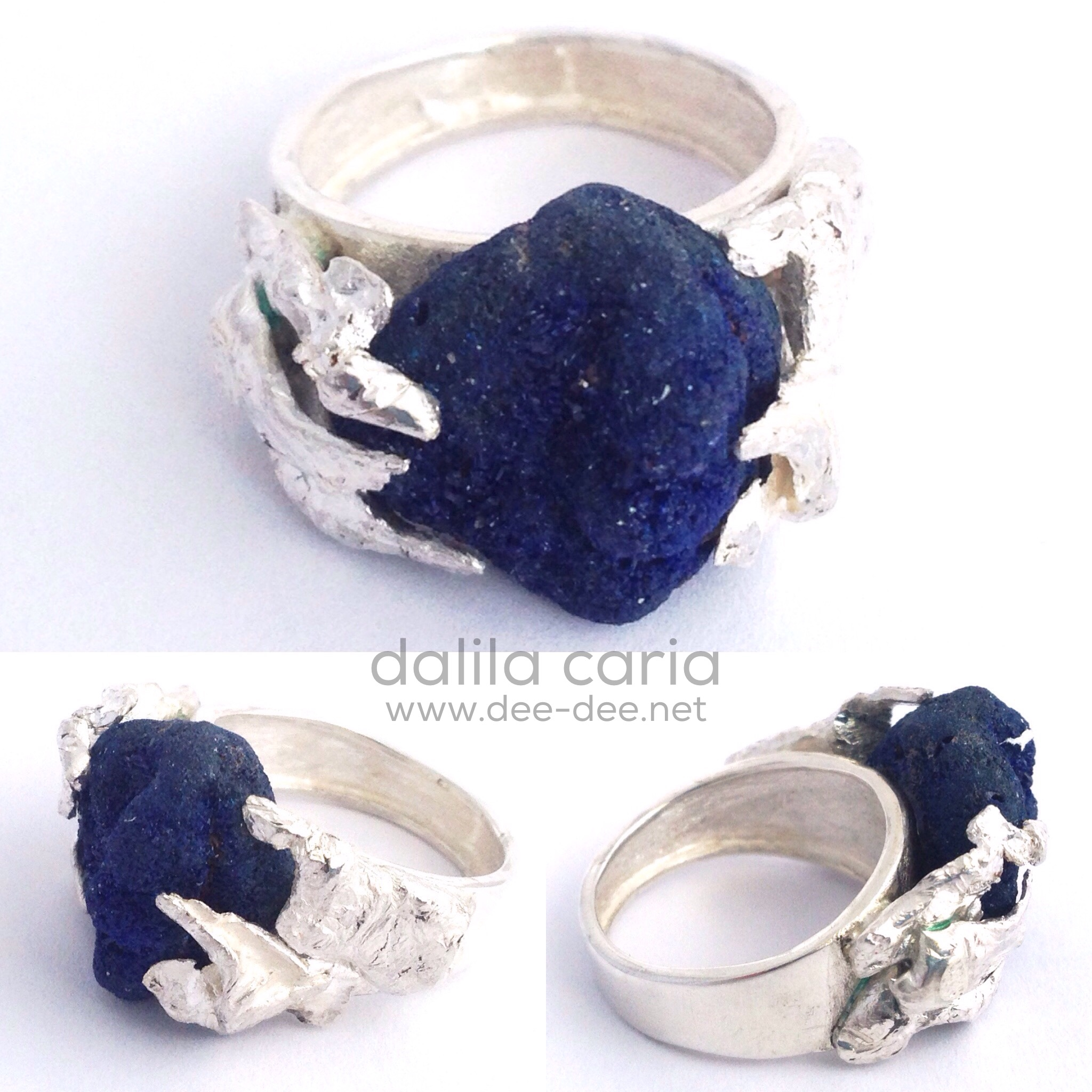 anel em prata com azurite em bruto