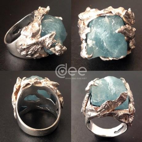 anel de prata com topazio em bruto