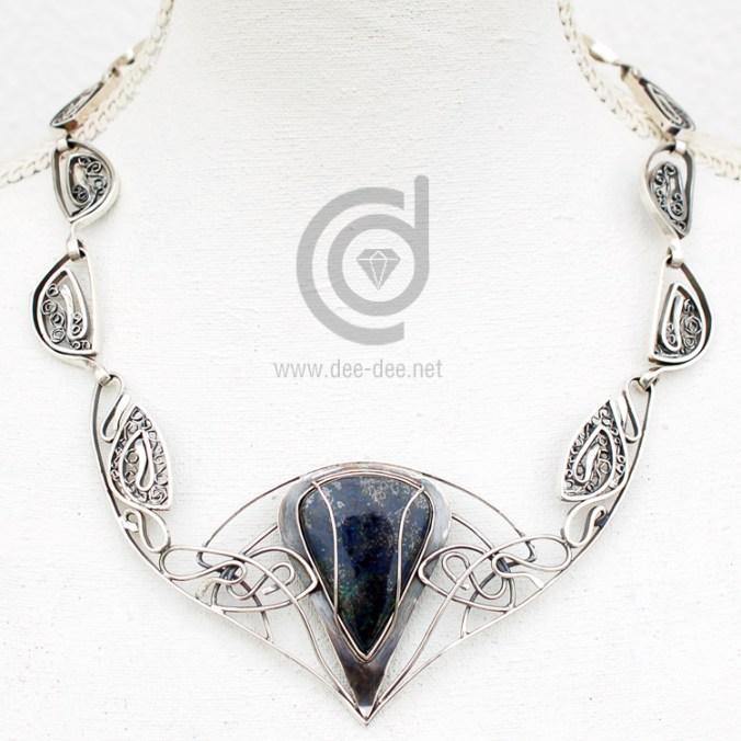 gargantilha arte nova em prata com azurite