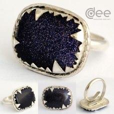 anel em prata com goldstone azul