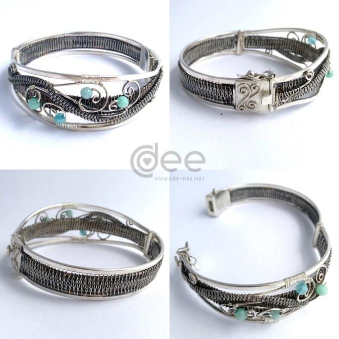 pulseira em prata com agata
