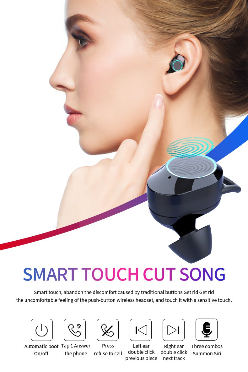 G02 V5.0 Bluetooth Stereo Earphone Wireless IPX7 Waterproof Touch Earbuds Headset 3300mAh Battery LED Display Type-c Charge Case