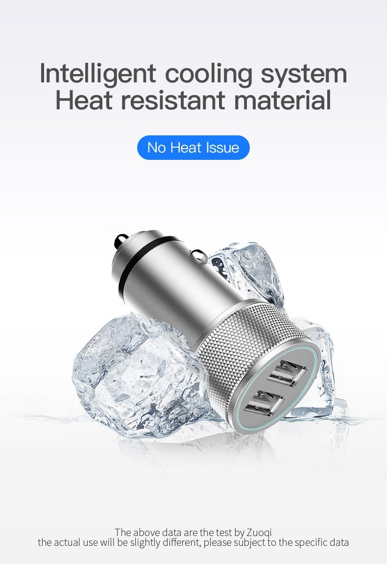 Car Charger Double on Board USB Charger Metal Aluminium Alloy Car Mobile Phone 2.4A Car Charger Gold Fast Charge