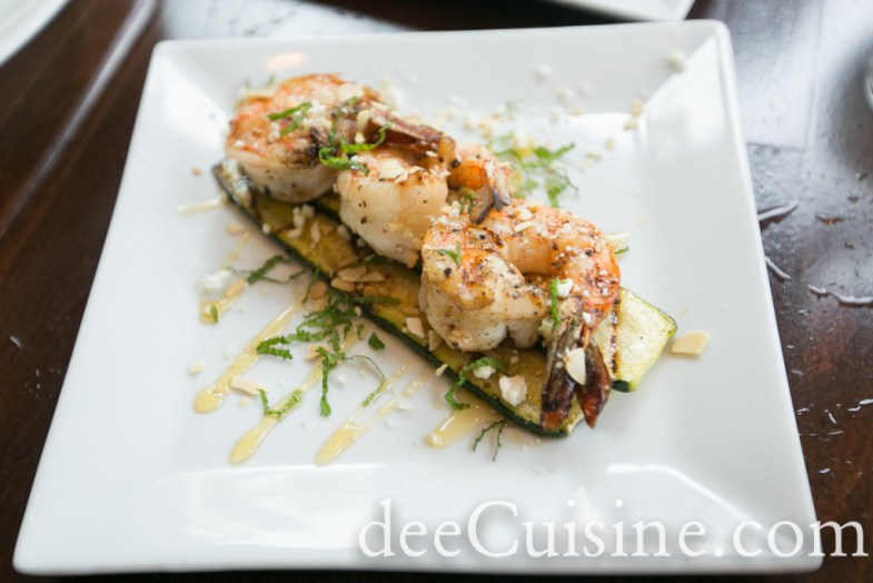 Grilled Mint Shrimp, Zucchini, Chestnut Honey, Feta, Toasted Almonds
