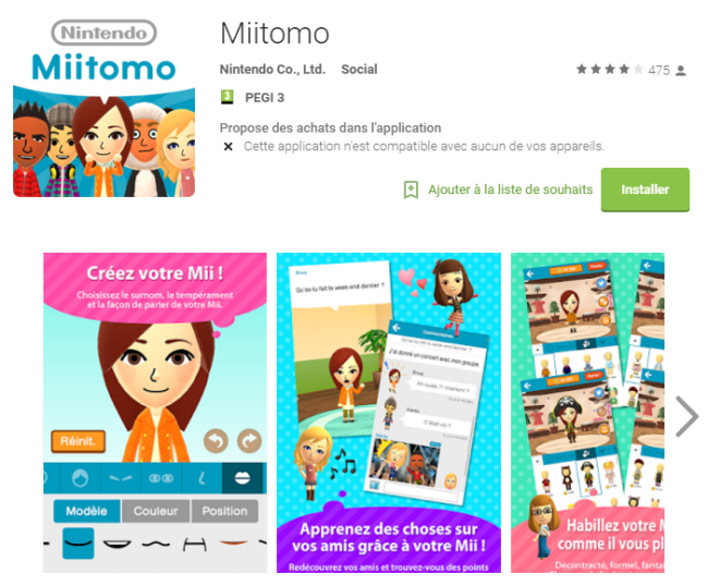 Miitomo - play store google android