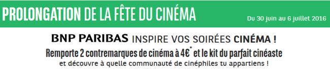 Gagnez 2 Contremarques pour prolonger la fête du cinéma 2016