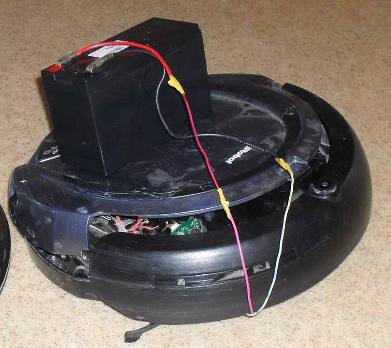 A quick test with SLA battery proved that Roomba runs fine. Unfortunately 7Ah battery I was going to use appeared to be too heavy for the robot, ...