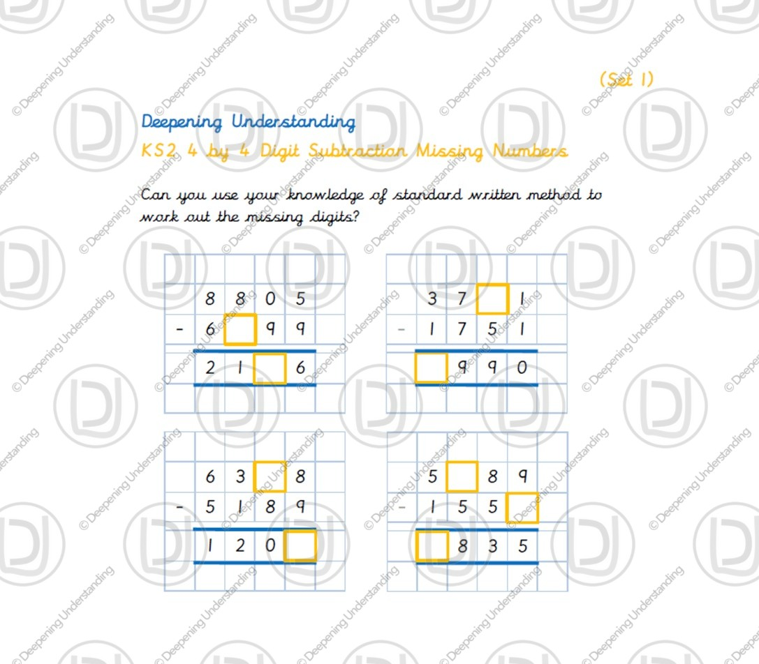 Ks2 4 By 4 Digit Subtraction Missing Numbers Deepening Understanding