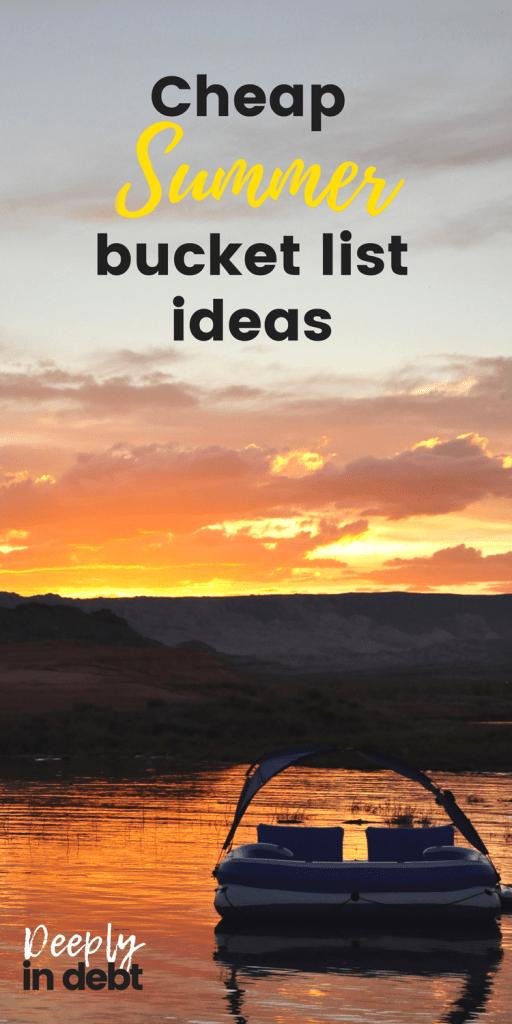 cheap summer bucket list ideas