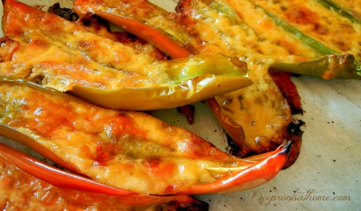 Roasted Pepper Recipes ~ Hots and Sweets, gluten-free, Joe E. Parker 'Tex Mex' medium hot peppers, thick walled sweet peppers, roasting peppers, Weather Channel, harvesting, grilling with cheese, homemade, homemaking, stuffing, dehydrating, caramelizing, salads,