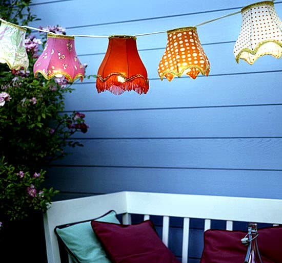 Whimsy In Your Yard & Garden, Part Two, outdoor space, decorating, yard, outdoor room, porch lighting, party lights, string of lights