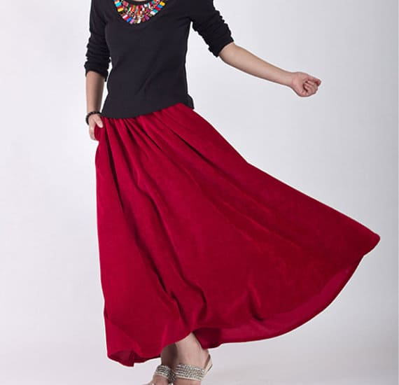 A Portrait Of Feminine Dress, Pt 2 Mix-N-Match, tops and skirts, feminine, modest, bright colors, maxi skirt, crushed velvet, ruby red