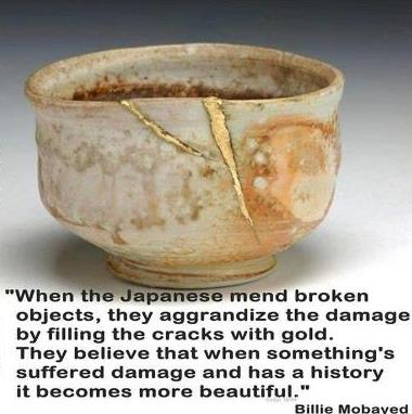 Cracked Vessels, glory to God, crushed, mended, destroyed, broken-hearted, potter and the clay, Great Physician, Kintsugi, Japanese gold joinery, mend broken vessels, 2 Corinthians 4:7, artistry, jars of clay, fragile, handle with care, restoration, redemption, transformation, skill, healing hands, ceramics, pottery, repaired crack in pottery cup, quote Billy Mobayad, gold-filled cracks