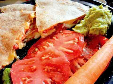 Veggie Quesadillas On Sprouted Grain Tortillas, quesadilla for lunch, slicing tomatoes, lunch plate