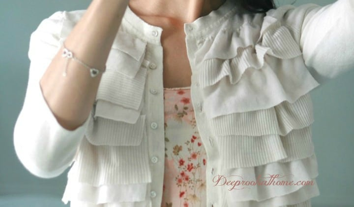A Portrait Of Feminine Dress, Part 6~ Ruffled Tops and DIY Tutorials, modest, tops, clothing, classic, pretty, easy, sewing, crafting, homemaking, re-purposed tees, DIY, flowers, tutorial, model, woman, 3/4 sleeve, long sleeve, fabric flowers, fabric leaves, ruffles, edging, frilly, feminine, white cardigan, floral blouse, layered look