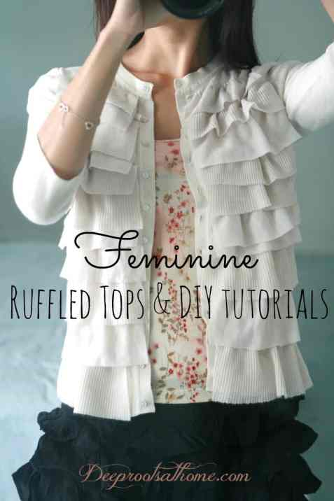 A Portrait Of Feminine Dress, Part 6~ Ruffled Tops and DIY Tutorials, modest, tops, clothing, classic, pretty, easy, sewing, crafting, homemaking, re-purposed tees, DIY, flowers, tutorial, model, woman, 3/4 sleeve, long sleeve, fabric flowers, fabric leaves, ruffles, edging, frilly, feminine,