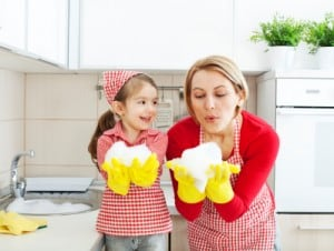 Do You Have A Homemaker in Training?, mother and daughter doing dishes, blowing bubbles, laughing