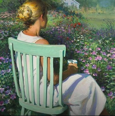 Green Chair by Jeffrey T. Larson, woman overlooking meadow, garden, thinking, meditating