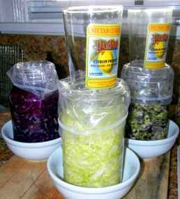 Step-by-Step Process Of Making Sauerkraut In a Crock, DIY, homemade, homemaking, keeper at home, choucroute, Eastern Europe, barrels, kitchen/postal scale, Sandor Katz, quote, books, French Grey salt, Himalayan pink salt, sea salt, minerals, shredded cabbage, chopped cabbage, independence, open crock, Boss Pickler, Fido jar, canning jars, mason jars, Ball jars, salt ratio, bon appetit, Alsace Lorraine, France, cellar, food storage, fermentation, big batches, crunchy, sour, kahm yeast, Holland, caraway seeds, lidded crock, Harsch crock, Gartopf, Germany, grandmothers, probiotic, Reuben sandwiches, flavor, crunchy, beneficial bacteria, bad bacteria, lactobacillus, lactic acid, Swabian village, brine, salt solution, lacto-fermentation, sustainable living, living off the grid, the old ways, thermometer, heated garage, food storage, pantry, kraut, ferment