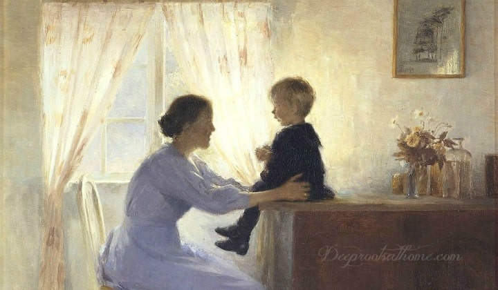 Intentional Teaching In Those Little Teachable Moments, children, wisdom, boy on desk, vintage, oil, sunlight in window, big desk, instruction, listening, bedtime, mealtime, Deuteronomy 6:6-7, Proverbs 3:5-6, mentoring, sins of past, discretion, authentic parenting, curse of sin, forgiveness, mother, praise, understanding, fear, trust, fathers, 'Angels Unseen' by Ron DiCianni, 'Mother and Child' by Peter Ilsted, 'In The Ocean Air' by Johanna Harmon, paintings, artwork, mothering, discipling, disciplining, teaching, home-education, homeschool, toddlers, youngsters, babies, teenagers, tweens, young adults, lessons, life together, trials, character, values, intentional, joy, Christ, God, build a wall, hypocrisy, commandments,