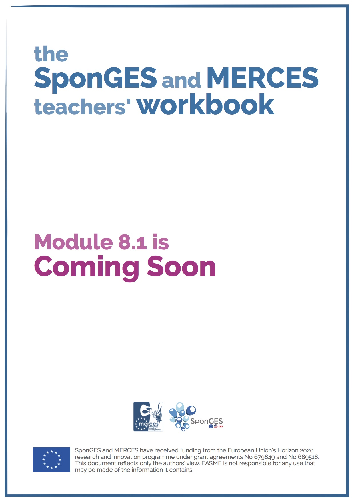 Module 8.1 of the SponGES and MERCES teachers' workbook