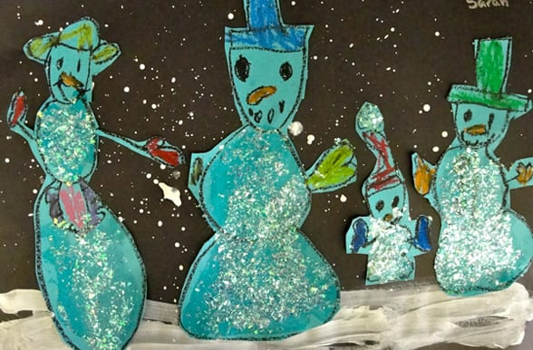 http://www.deepspacesparkle.com/2010/12/17/winter-snowman-collage-art-lesson/