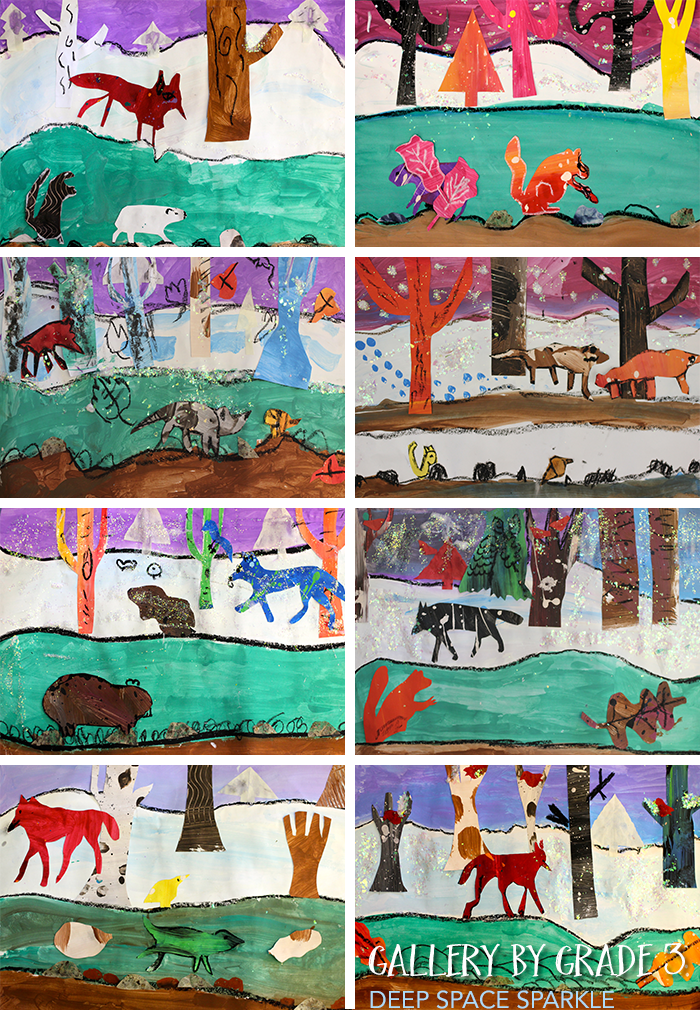 Winter Habitat art projects by third graders