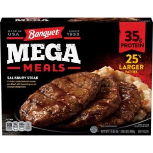 BANQUET MEGA MEAL SALISBURY STEAK FROZEN DINNER, 16.9OZ