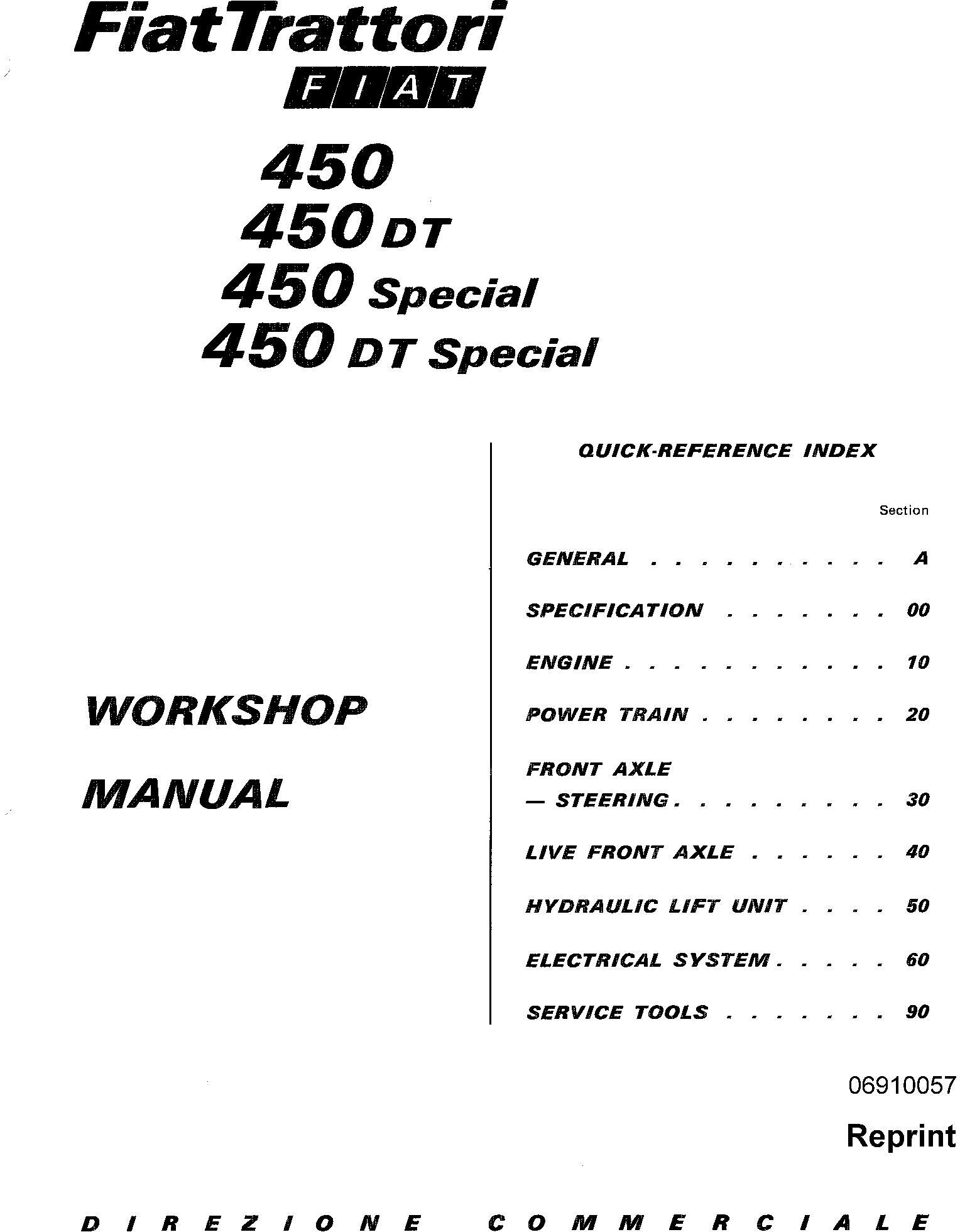 Fiat 450 450s 450dt 450dts Tractor Service Manual