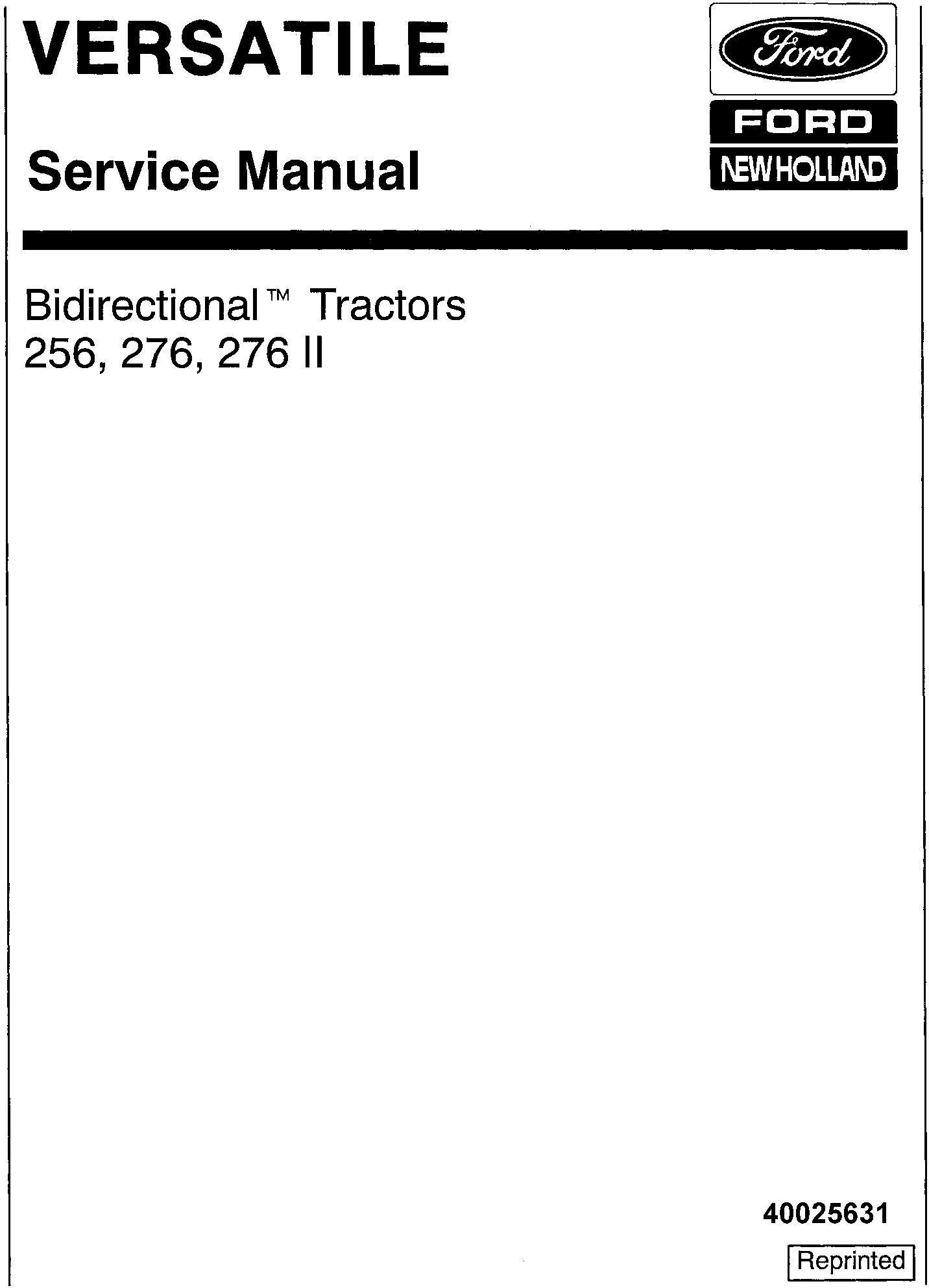 Ford 256 276 276 Ii Bi Directional Versatile Tractor