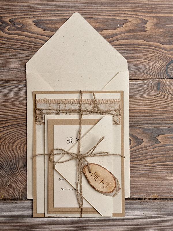 Simple Country Rustic Custom Wedding Invitation Kits Ewi210 Reception Cards