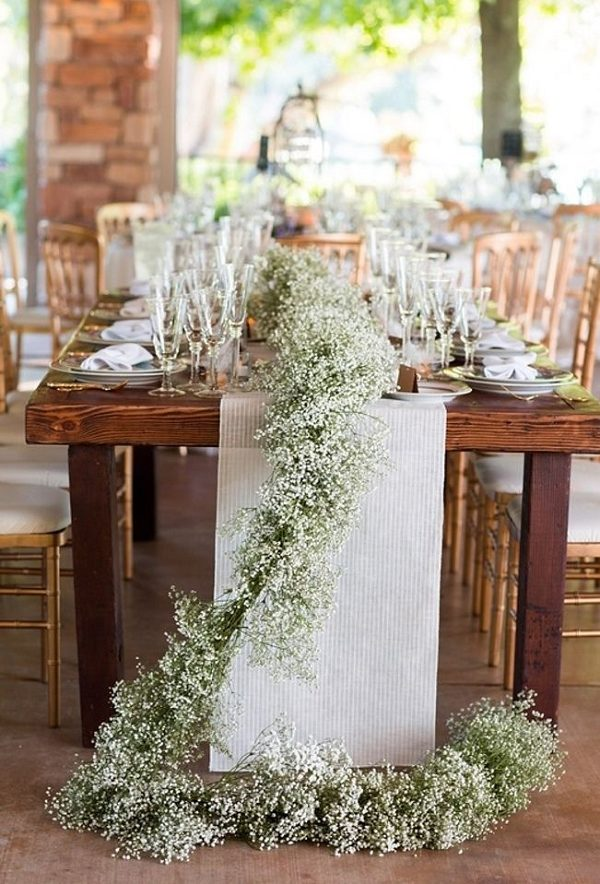 rustic baby breath wedding garland ideas