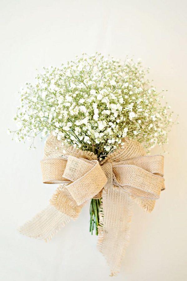 rustic burlap baby breath wedding bouquet