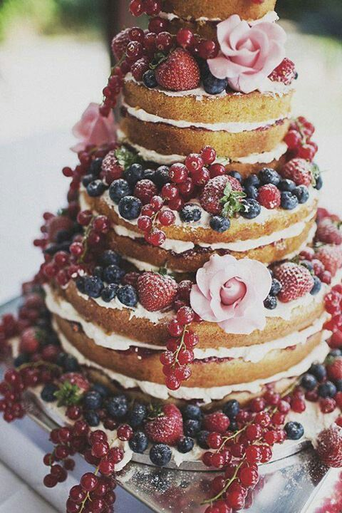 49 Naked Wedding Cake Ideas for Rustic Wedding   Deer Pearl Flowers     Breakfast anf brunch wedding ideas   rustic naked wedding cake with  fruit