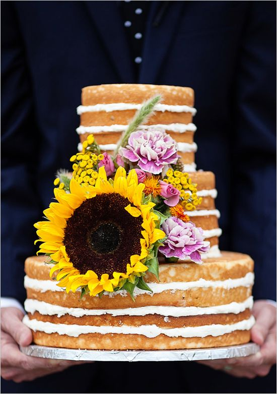 49 Naked Wedding Cake Ideas for Rustic Wedding   Deer Pearl Flowers     large sunflower topped naked wedding cake