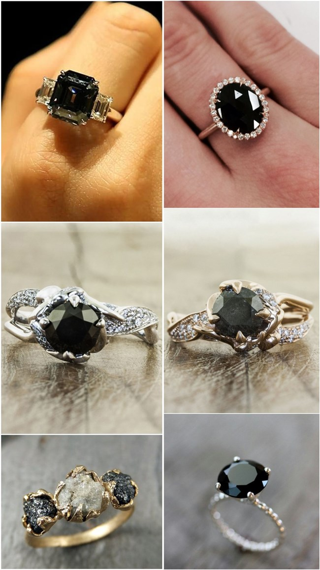 20 Gorgeous Black Diamond Engagement Rings Deer Pearl Flowers