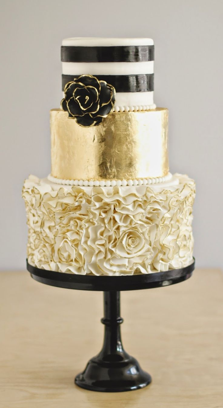 Black White and Gold Wedding Cake with Gold Ruffles   Deer Pearl Flowers Black White and Gold Wedding Cake with Gold Ruffles