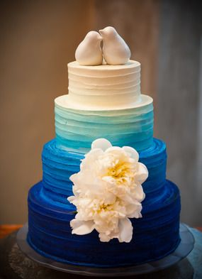 34 Delicate Ombre Wedding Cake Ideas from Pinterest   Deer Pearl Flowers     Blue ombre with lovebirds topper wedding cake by Barr Mansion and  Artisan Ballroom